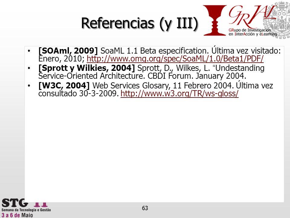 Referencias (y III) [SOAml, 2009] SoaML 1.1 Beta especification. Última vez visitado: Enero, 2010; http://www.omg.org/spec/SoaML/1.0/Beta1/PDF/